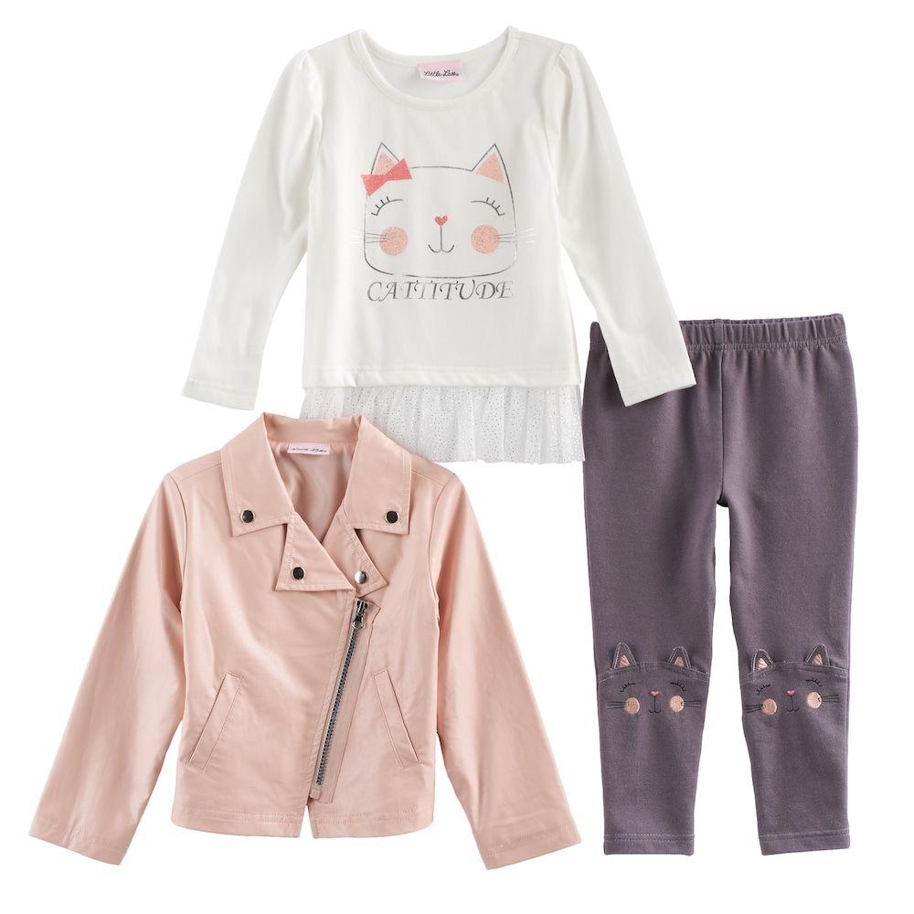"Toddler Girl Little Lass Moto Jacket, Kitty Cat ""Catitude"" Graphic Top & Leggings Set, Size: 2T, Natural"