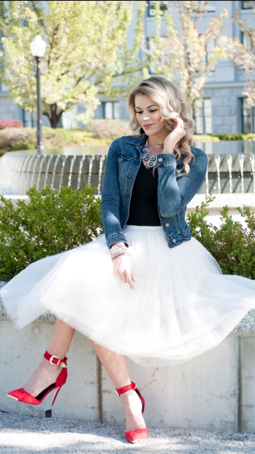 Clarisa champagne tulle skirt midi badass style swag and
