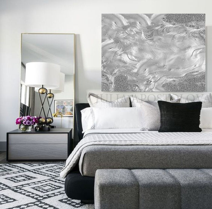 Grey Wall Art Silver Embellished Grey Canvas With Metallic Etsy Living Room Decor Gray Living Room Decor Grey Wall Art