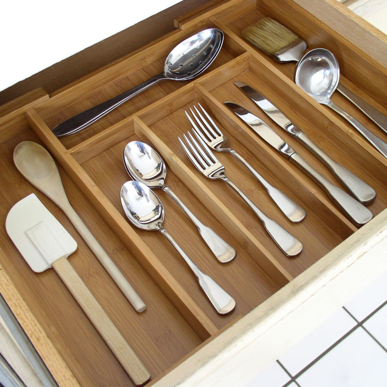 Expandable Bamboo Silverware Tray Kitchen Drawer Organization Kitchen Drawers Bamboo Silverware