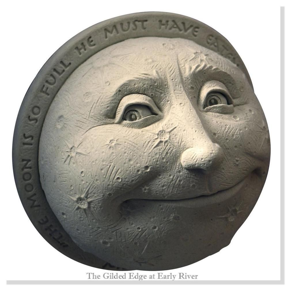 Carruth Studios Childs View of the Moon Hand Cast Sculpture Natural Stone Finish