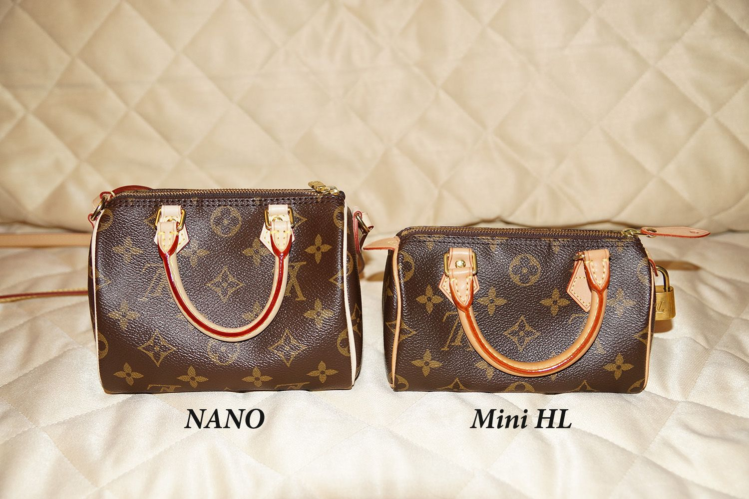 0d2b7fc5b91a8 Louis Vuitton Speedy size comparison  Nano vs. Mini HL