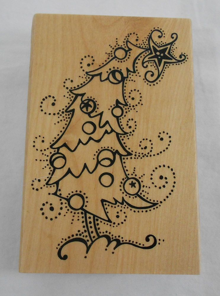 Recollections Crooked Christmas Tree Rubber Stamp Wood Mounted New