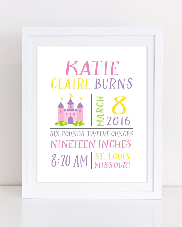 Birth Stats Print Custom Name Sign Princess Nursery Decor Announcement Printable Wall Art Fairy Tale By Dunestudio On