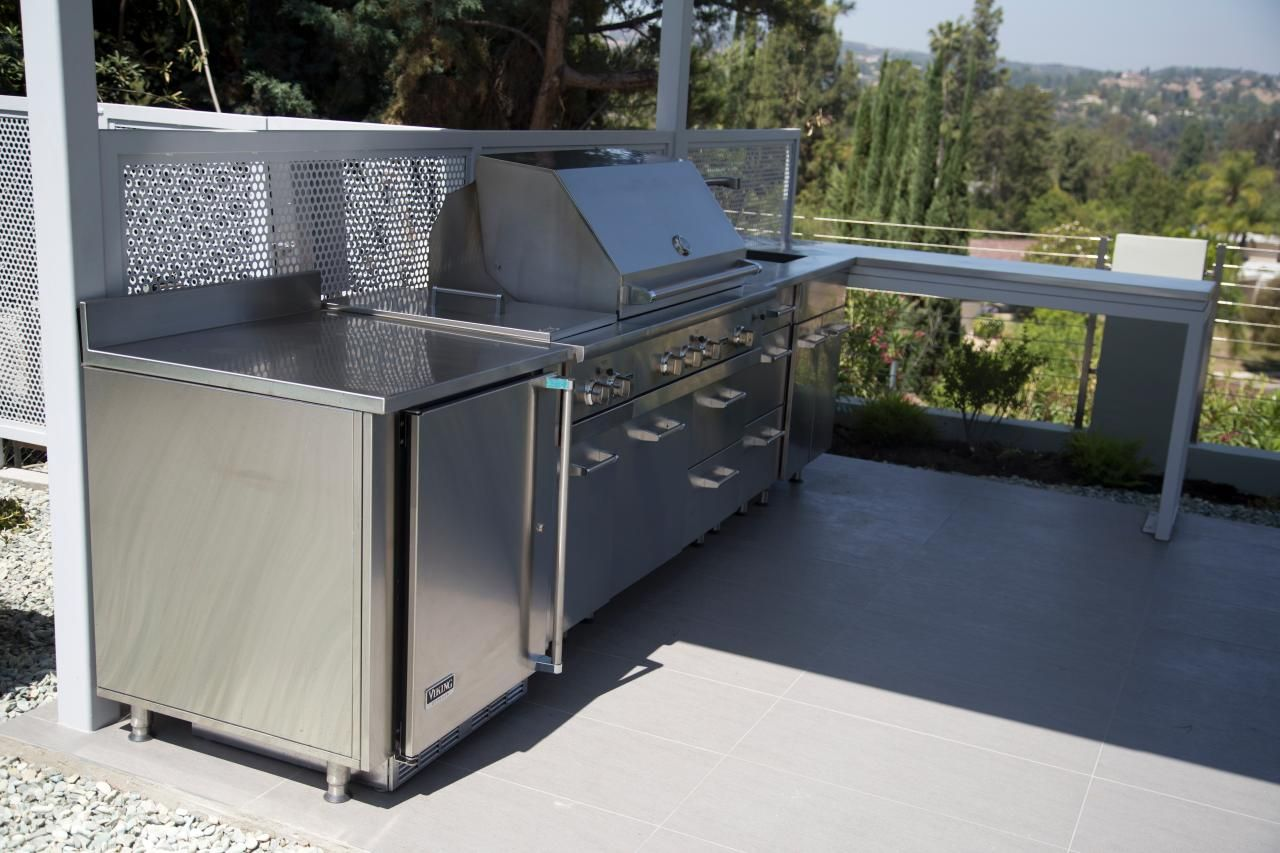 Interior Stainless Steel Outdoor Kitchen Cabinets discover how to choose remove install or refinish kitchen this covered outdoor area offers a stainless steel grill and custom countertop that turns the corner without blocking view
