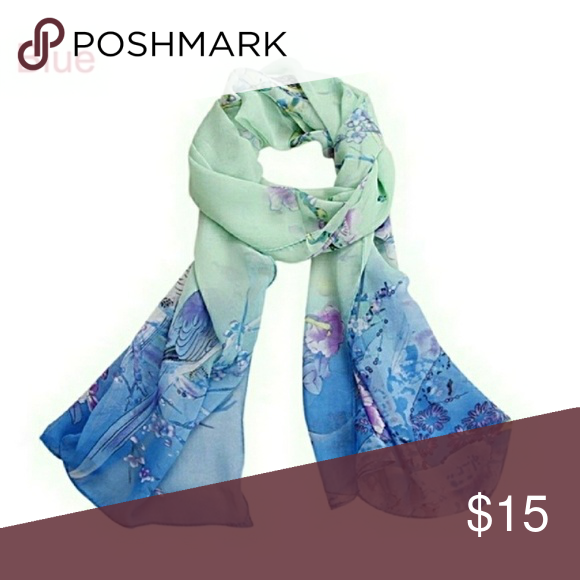 LADIES FASHION SCARF DRAGONFLY PRINT TURQUOISE BLUE NECK SCARF NEW