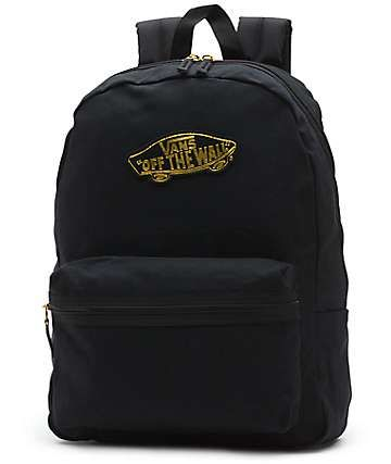 Vans Realm 50th Anniversary Black   Gold Backpack  7e0efec054d6b