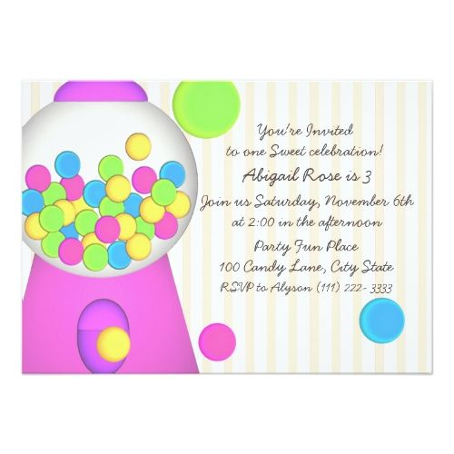 Candy Birthday Party Invitations Bubblegum Candy Birthday Card - best of invitation card birthday party