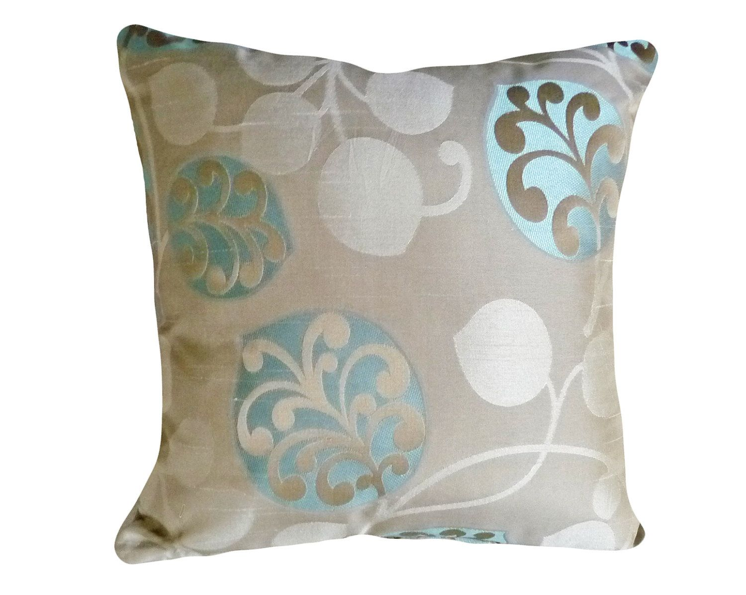 Chic Modern Pillows, Taupe Tan Turquoise Blue, 20 inch ...