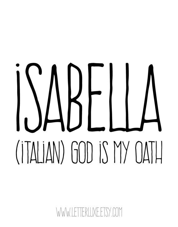 Isabella Name Meaning Printable Nursery Art Baby by
