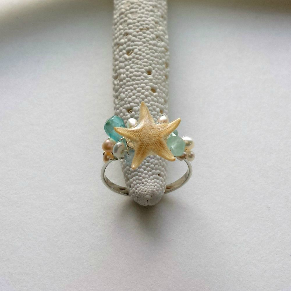 Real Starfish Ring, Wire Wrapped Beach Ring, Adjustable Mermaid Ring ...