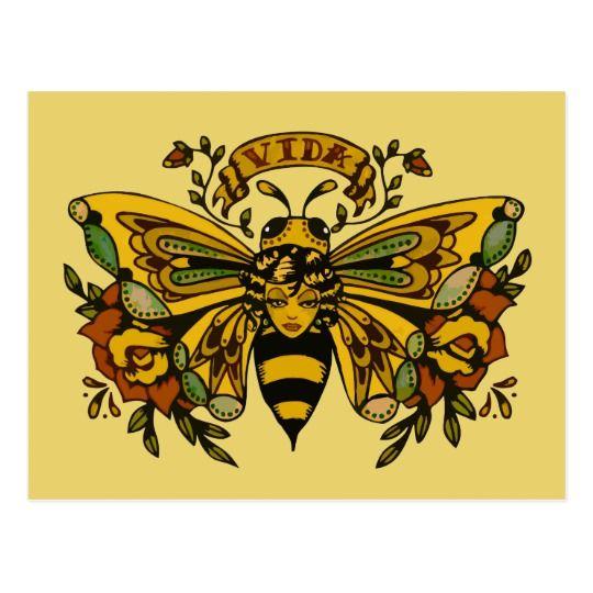 , Vintage Butterfly Bee Tattoo Postcard, My Tattoo Blog 2020, My Tattoo Blog 2020