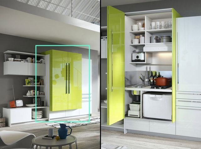 Cuisine Cachée Dans Un Placard Vert Parisian Kitchen, Small Corner, Home  Studio, Studio