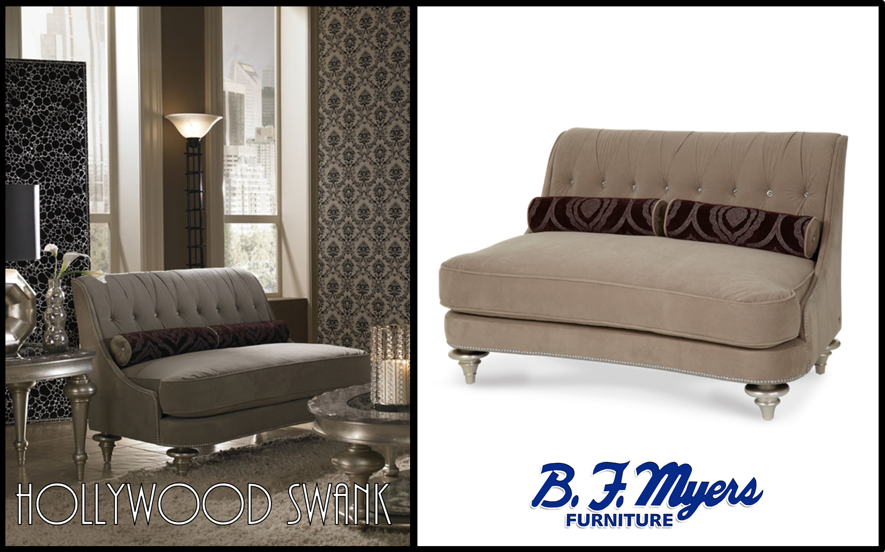 #HollywoodSwank Taupe Living Room Settee AVAILABLE AT B.F. MYERS FURNITURE  In Goodlettsville, TN