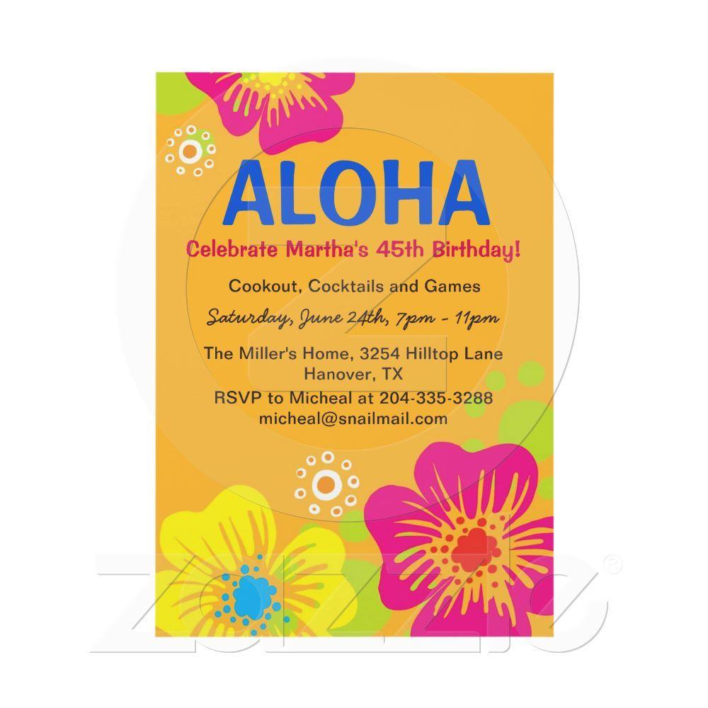 Hawaiian Luau Birthday Party Invitation from Zazzle.com, Tropical ...