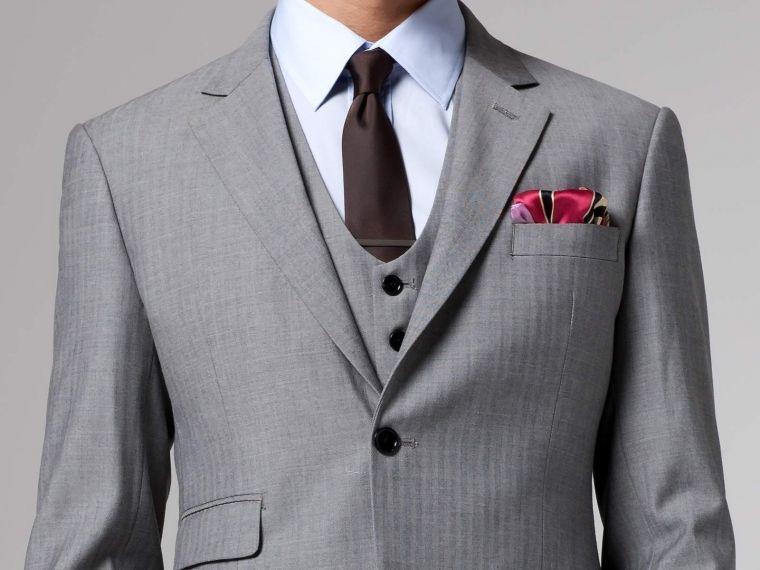 Essential Gray Herringbone Three-Piece Suit 2
