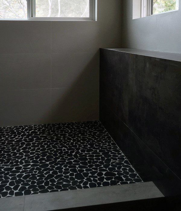 Black Pebble Tile Floor Modern Showers