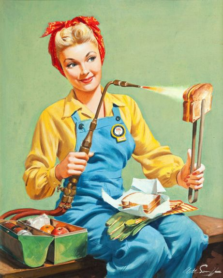 In this Canadian Star Weekly illustration, Rosie the Riveter uses her welding torch to toast a sandwich. For more wartime Star Weekly covers, visit www.elinorflorence.com/blog/117839.
