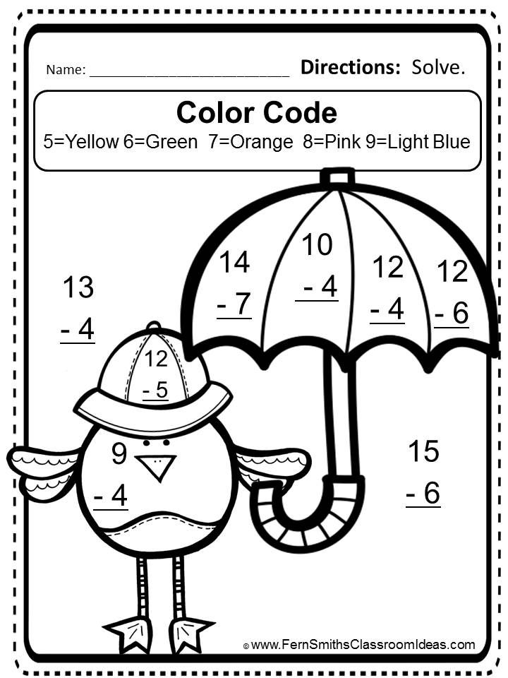 FREE Mixed Subtraction Spring Task Cards and Printable – Color by Number Addition and Subtraction Worksheets