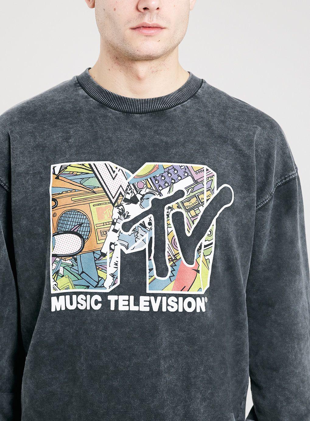 BLACK ACID WASH MTV SWEATSHIRT