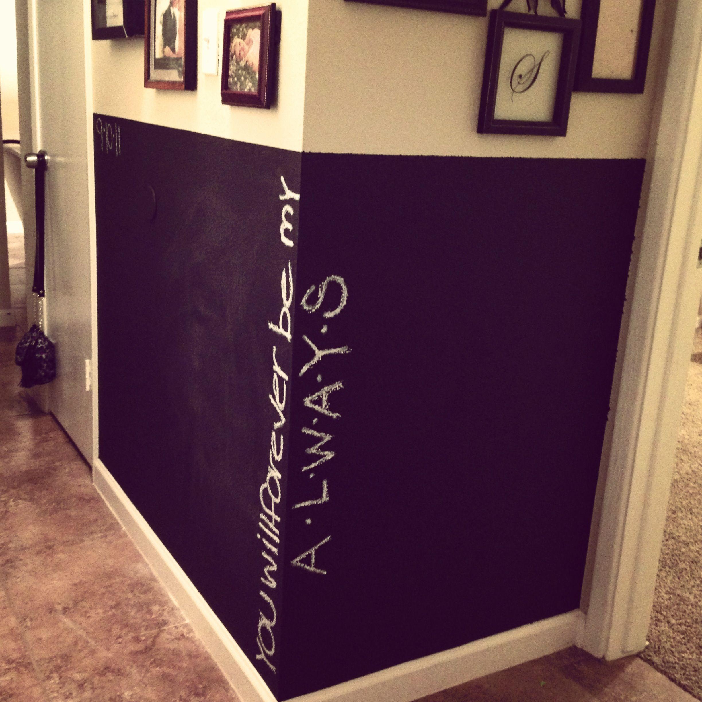 Chalkboard wall in hallway