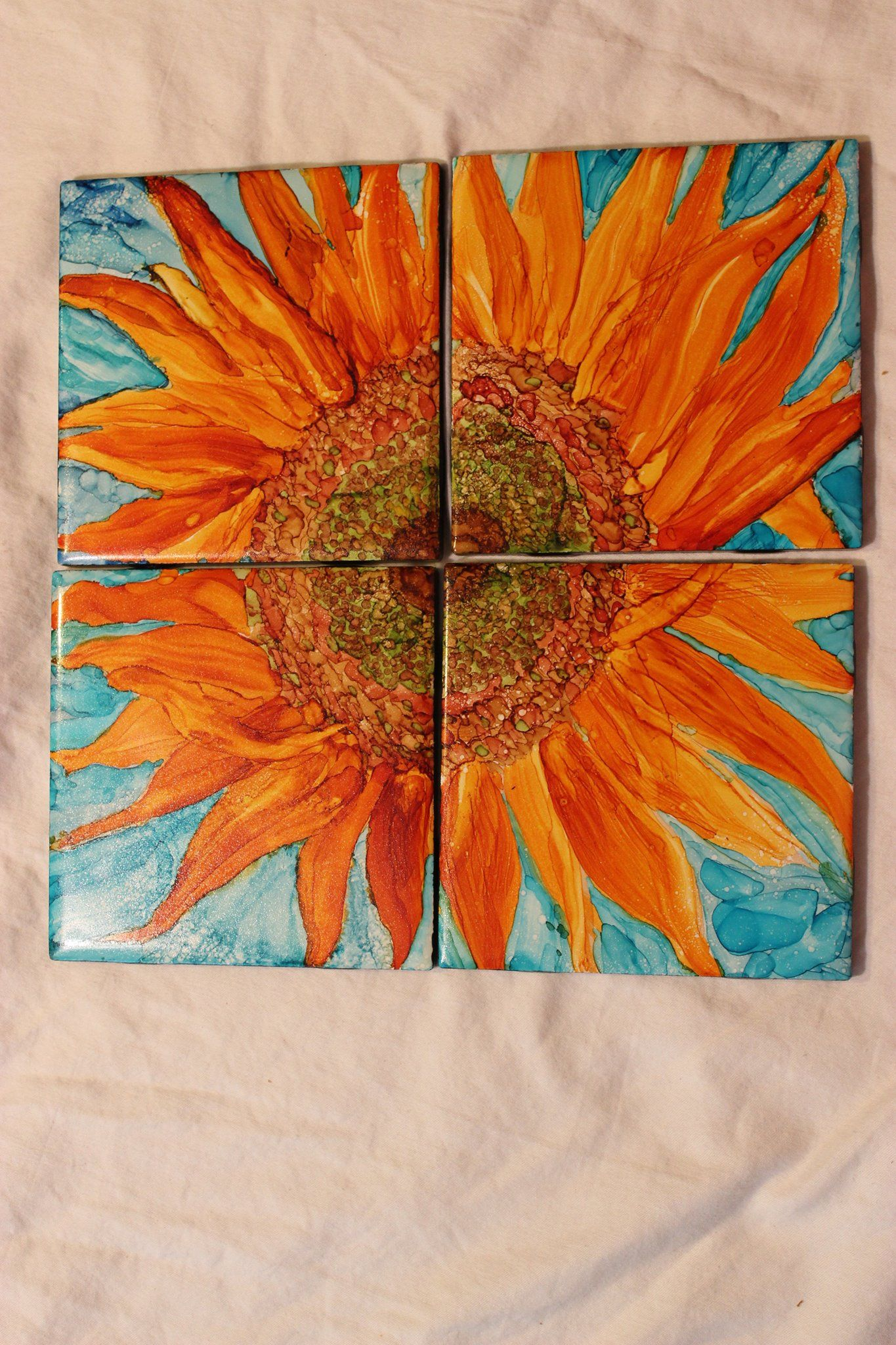 Tile Coasters Alcohol Ink On Ceramic Sunflowers Painted