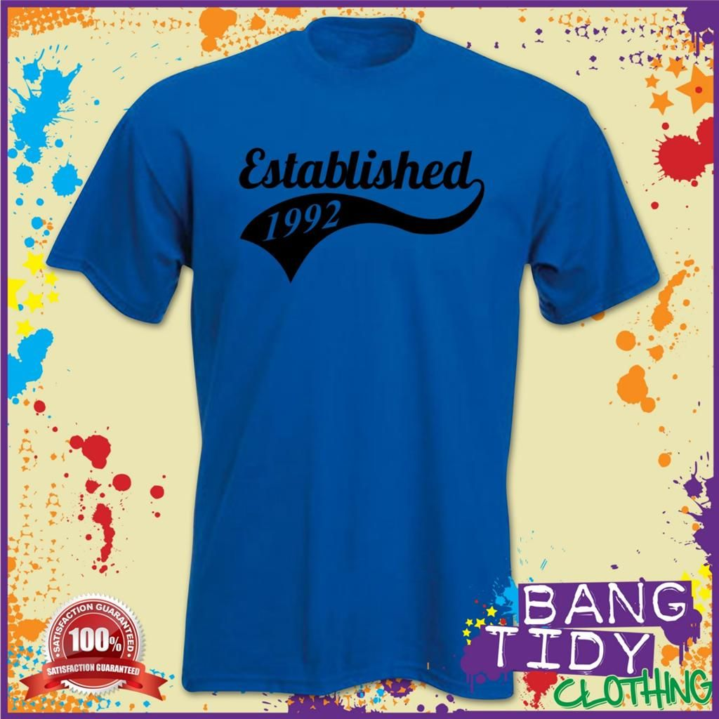 ESTABLISHED 1992 21st Birthday Mans T Shirt Our Price £10
