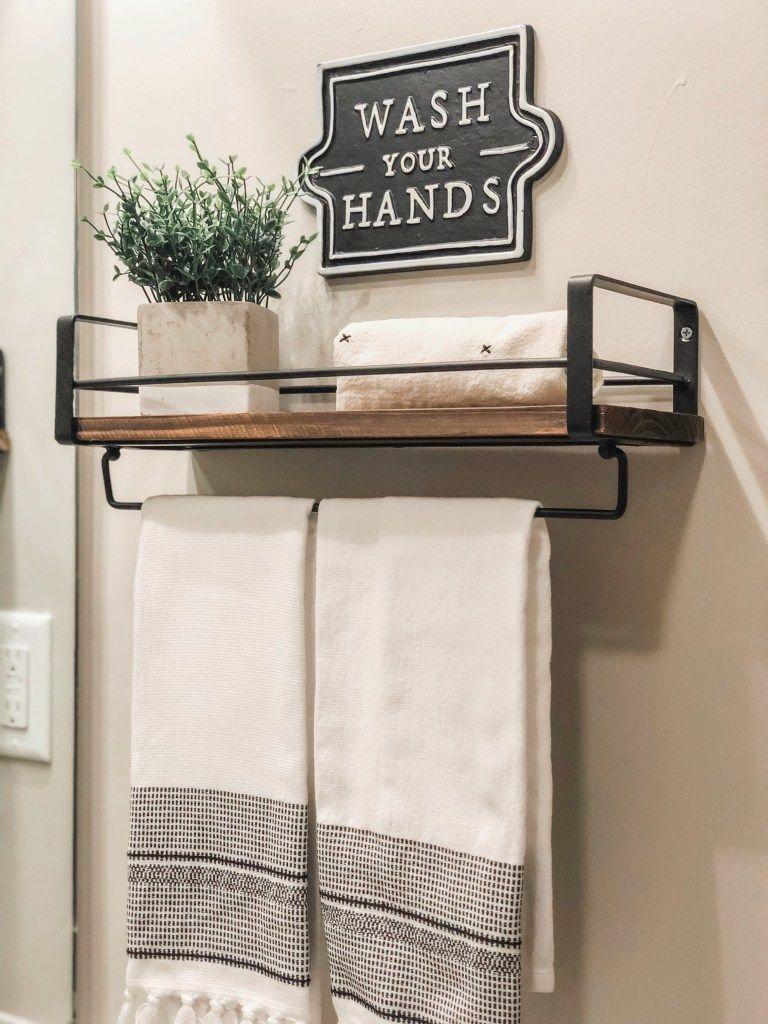 Bathroom Shelf Towel Bar Modern Farmhouse In 2020 Bathroom Organization Diy Bathroom Wall Decor Small Bathroom Renovations