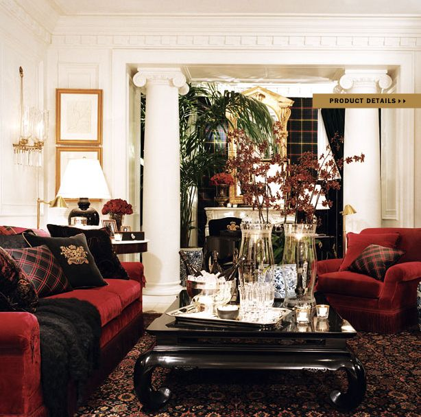 Ralph lauren home noble estate collection black and red for Ralph lauren living room designs