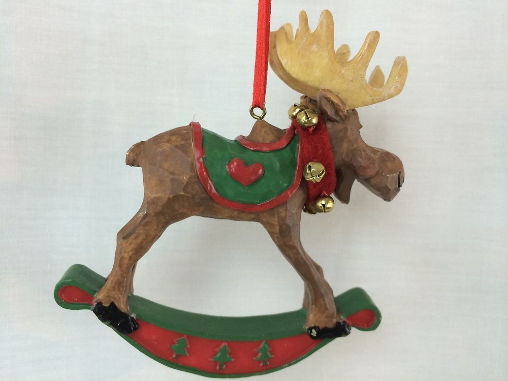 Moose Rocking Horse Christmas Ornament 45\