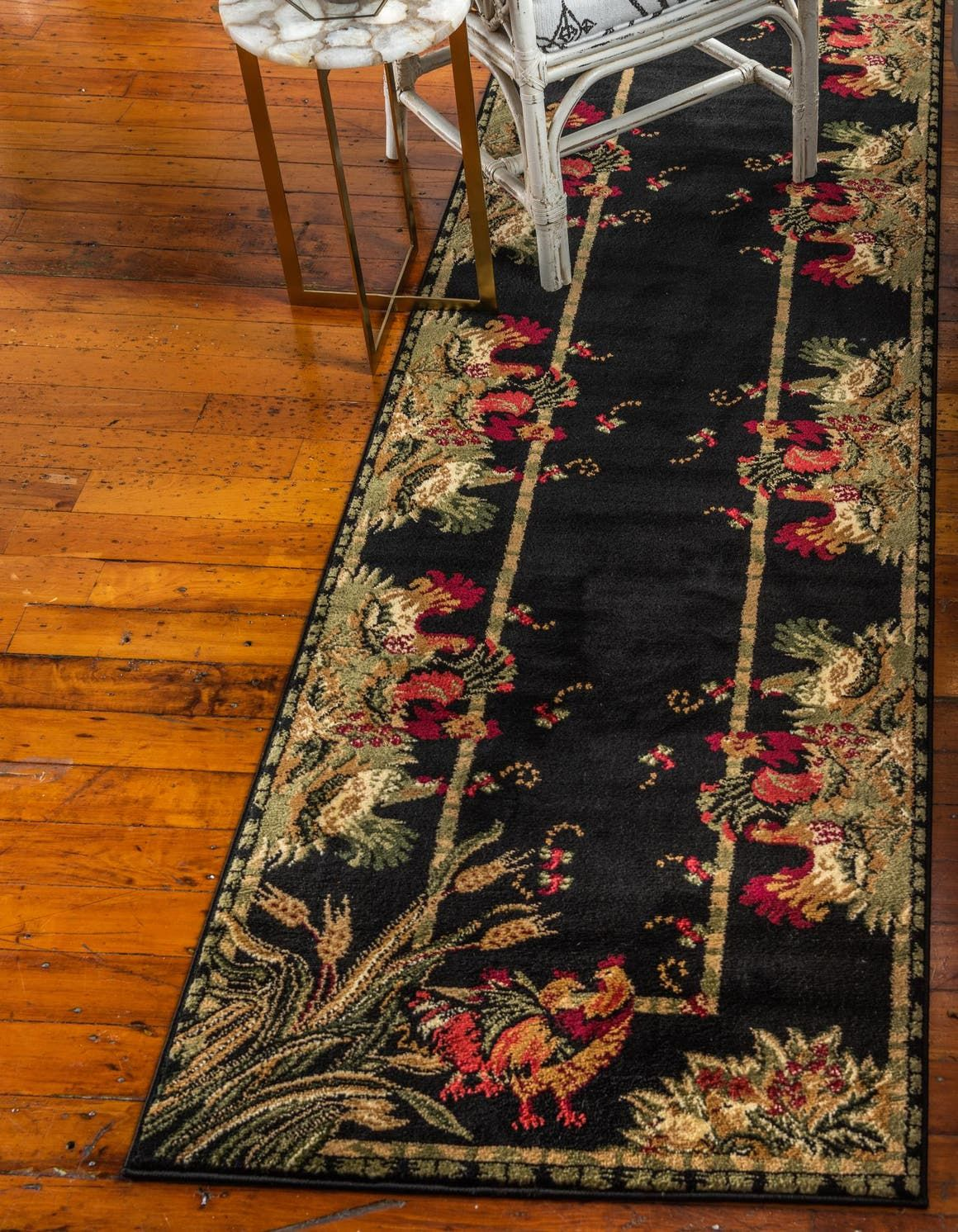 Pastoral Black 10 Ft Runner Area Rug In 2020 Black Area Rugs Country Area Rugs Purple Area Rugs