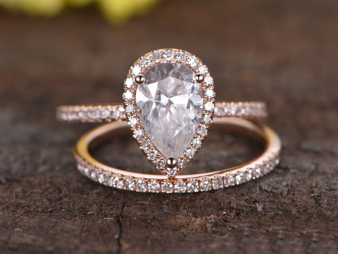 15 Carat Pear Shaped Moissanite Engagement Ring Set Diamond Matching Band  14k Rose Gold Halo Stacking