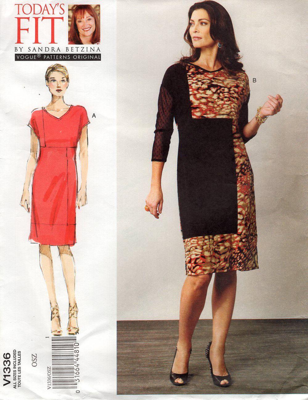 FREE US SHIP Vogue 1336 Sandra Betzina Today\'s Pullover Dress Custom ...