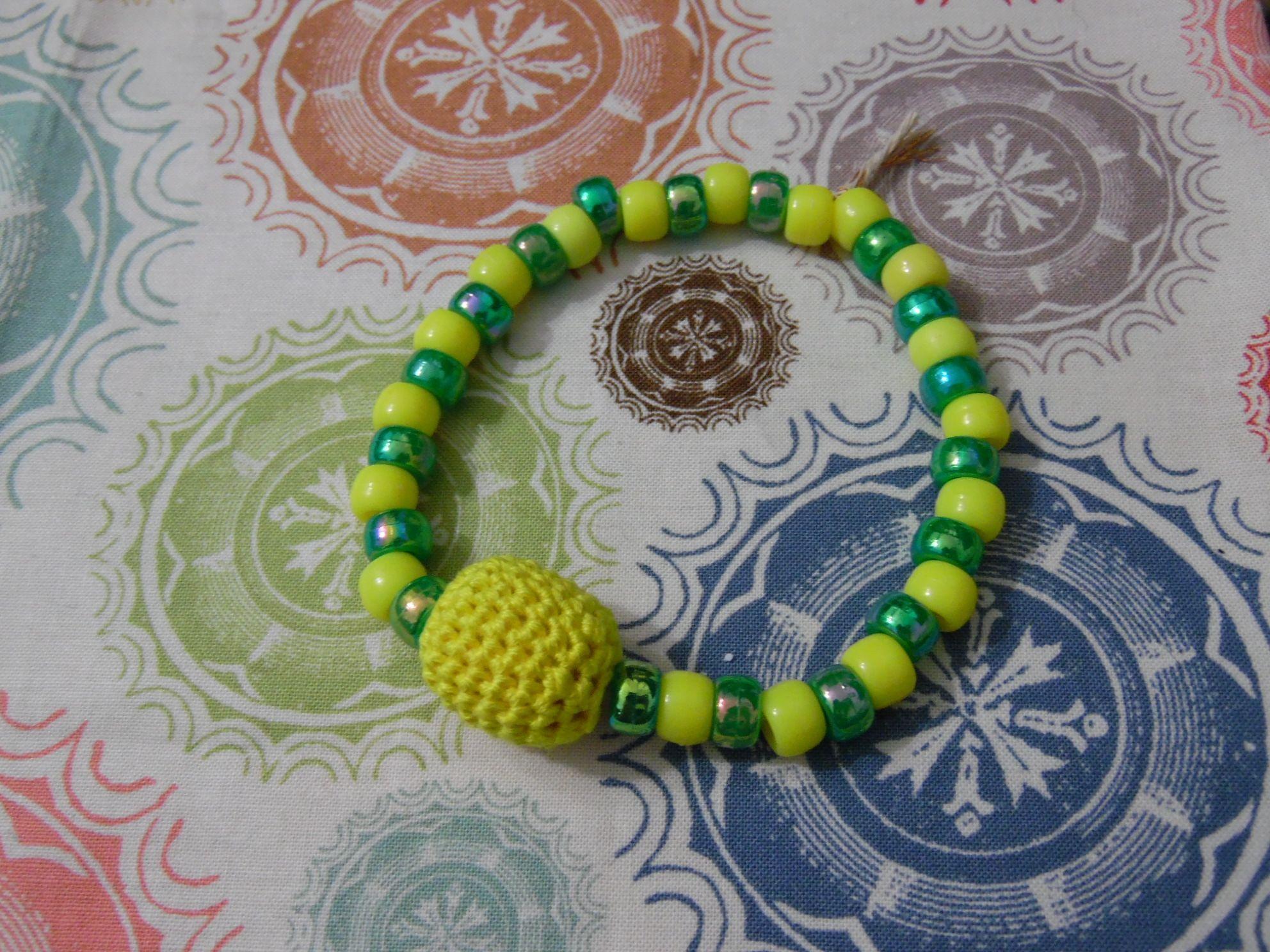 Crochet beaded bracelet yellow and green plastic beads, wood bead ...