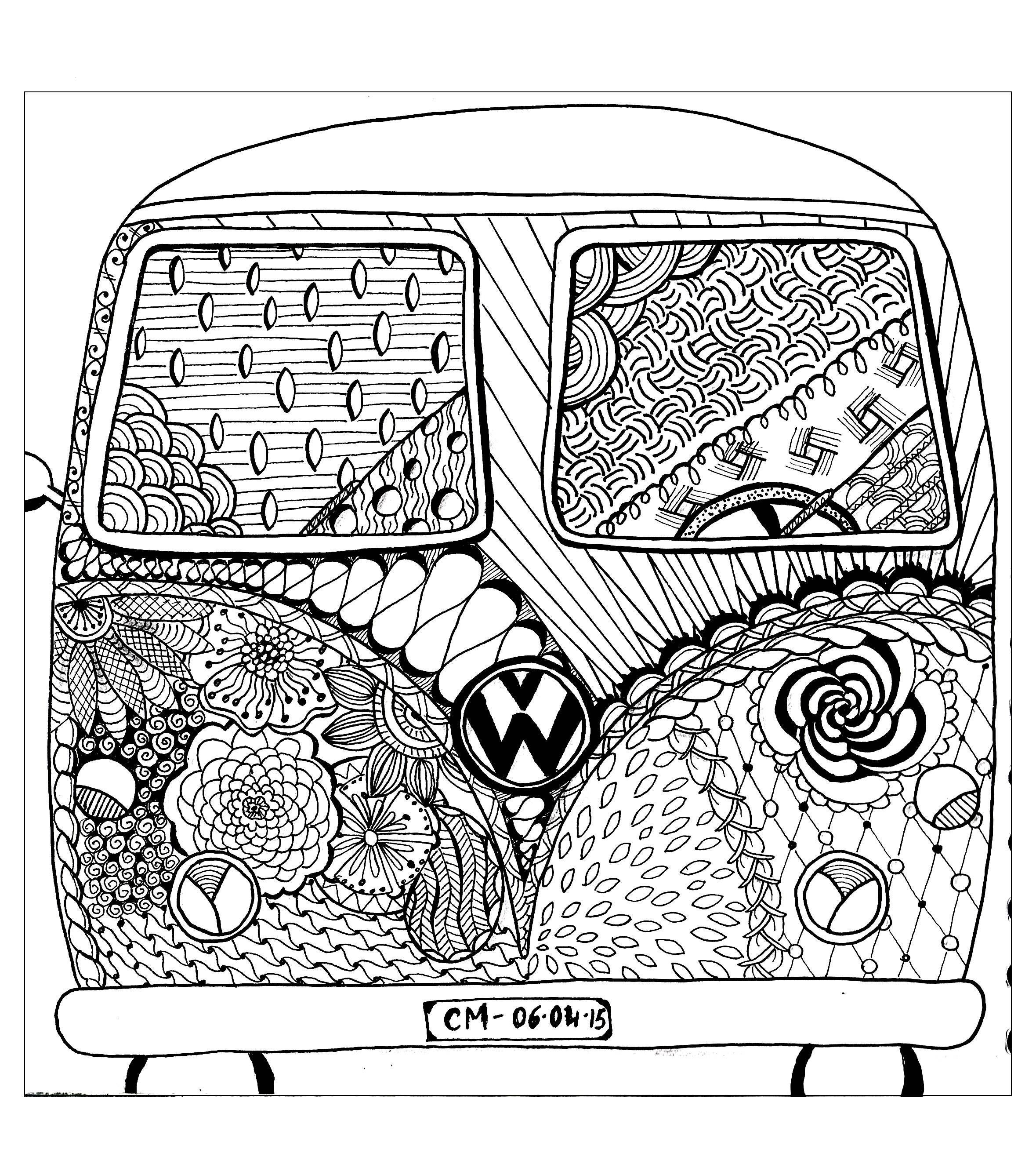 Free Coloring Page Zentangle By Cathym 8 Hippie Camper