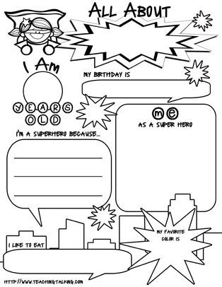 free superhero all about me printable perfect for getting to know your students in the first. Black Bedroom Furniture Sets. Home Design Ideas