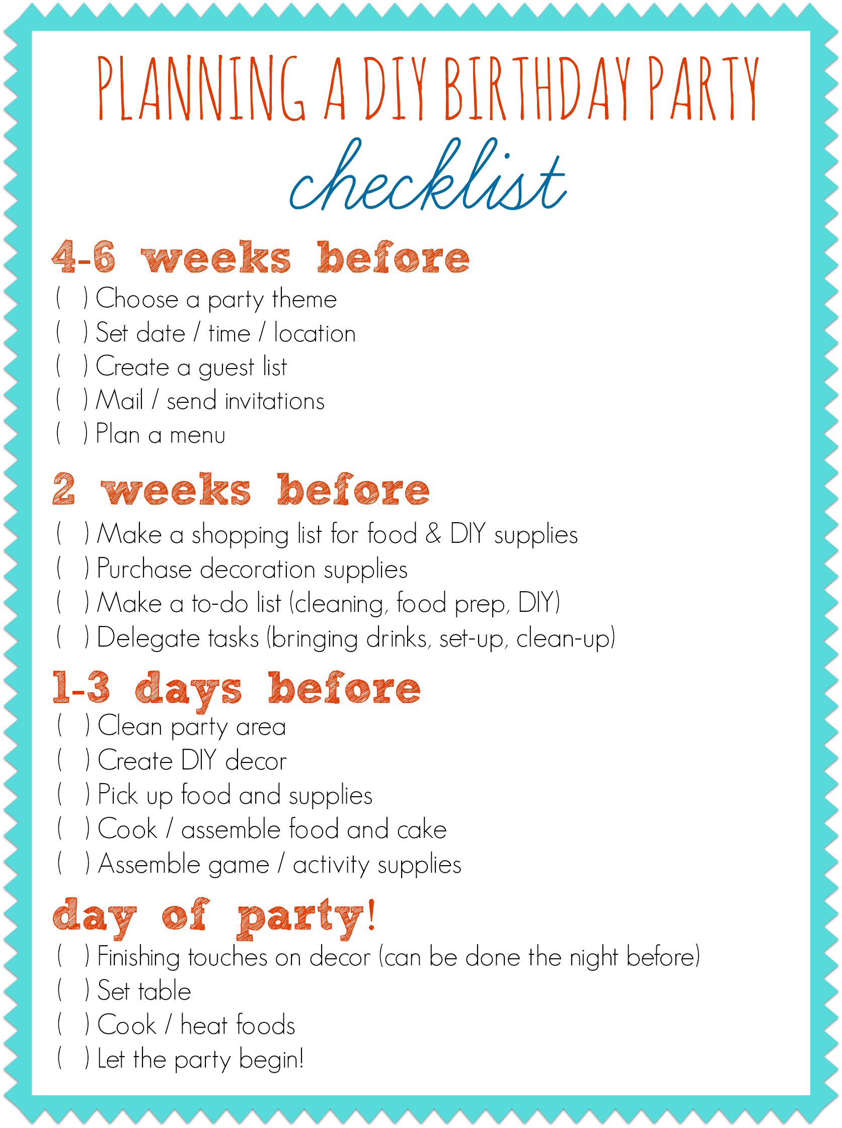 Planning A Diy Birthday Party  Party Planning Checklist