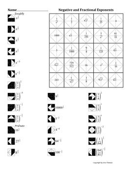 Negative And Fractional Exponents Color Worksheet Exponent Worksheets Exponents Algebra Worksheets