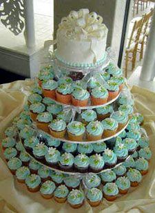 Cupcake Cake weiß/blau
