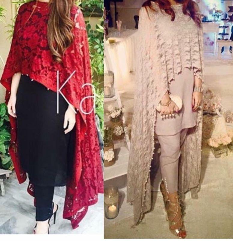 Poncho style pakistani dresses