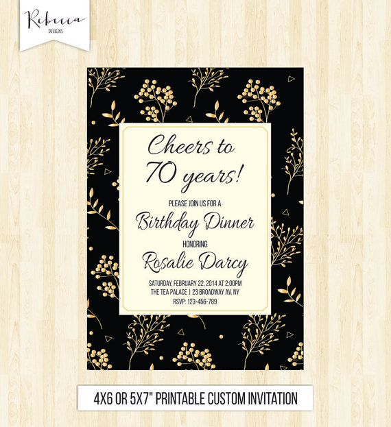 60 Birthday Invitation Gold And Black Cheers To 70 Years Senior Flora