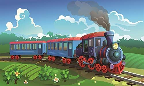 GYA Stream Train Party Theme Backdrop For Photography Kids
