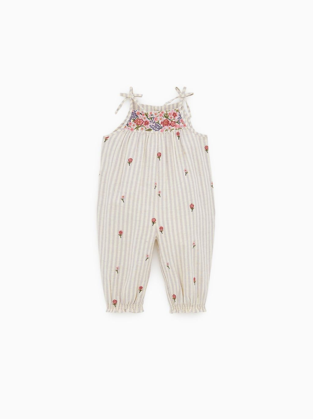 75778fe612 Jumpsuit with floral embroidery | Baby Girl Layette | Floral ...