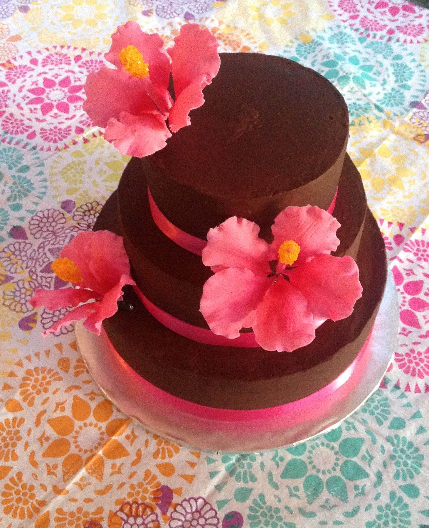 Tropical Cake Topper Luou Artificial Hibiscus Frangipani In 2020 Tropical Cake Topper Luau Birthday Cakes Luau Party Cakes