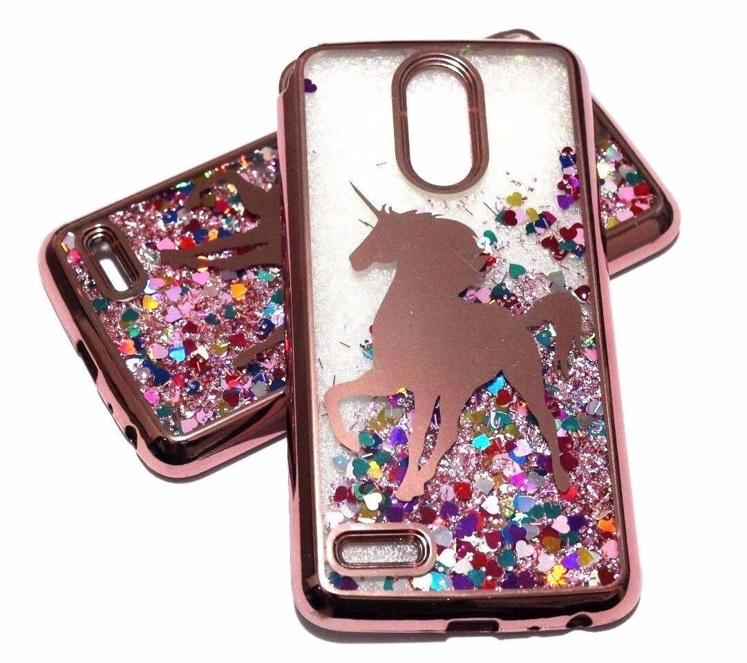 For Lg Stylo 3 Stylo 3 Plus Rose Gold Unicorn Glitter Hearts Liquid Case Cover Unicorn Phone Case Lg Phone Case
