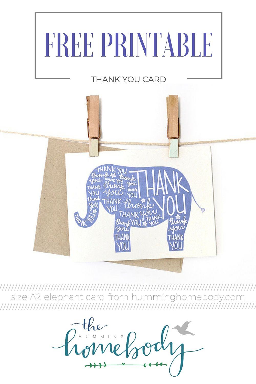 Printable Elephant Thank You Card