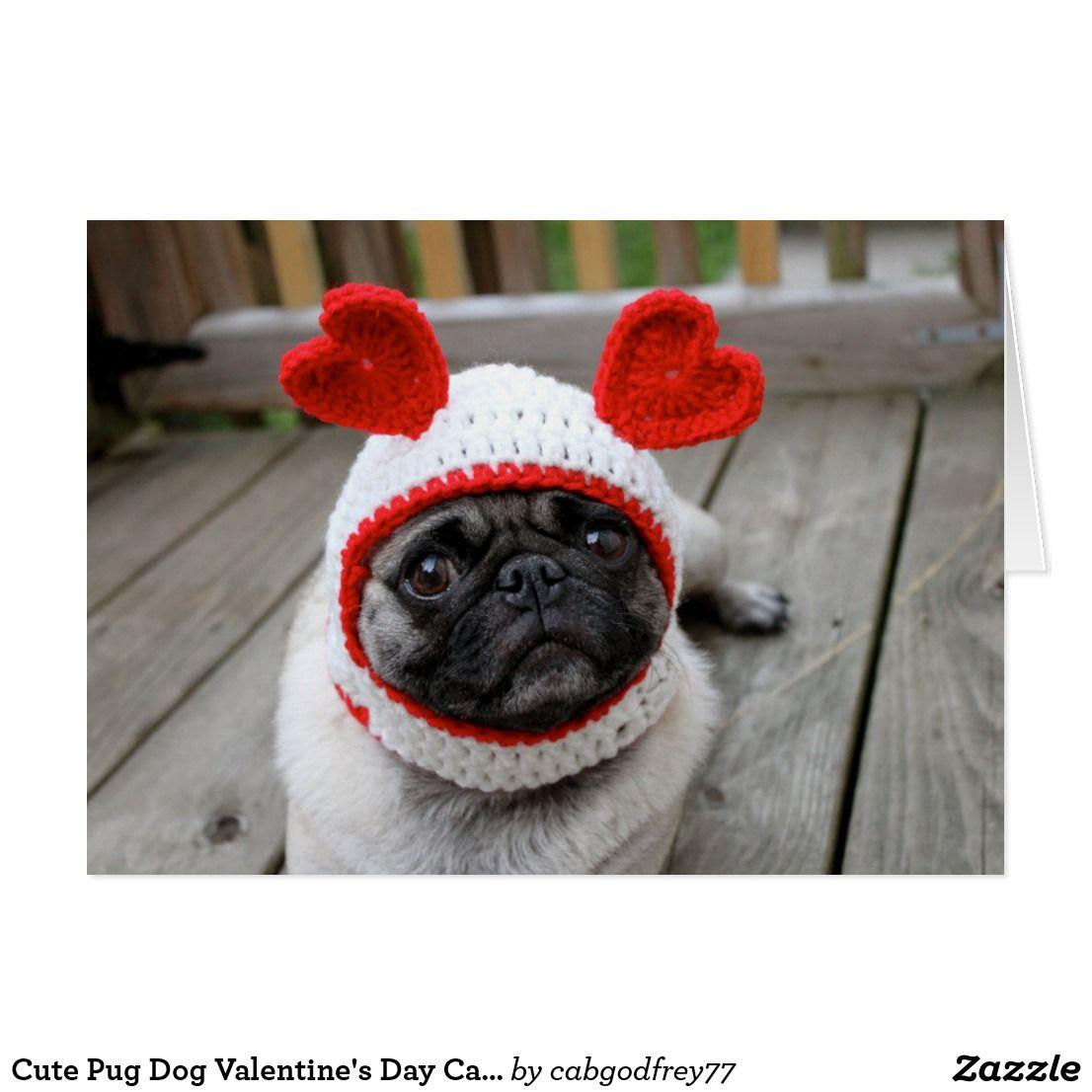 Cute Pug Dog Valentine S Day Card Zazzle Com Pug Valentine