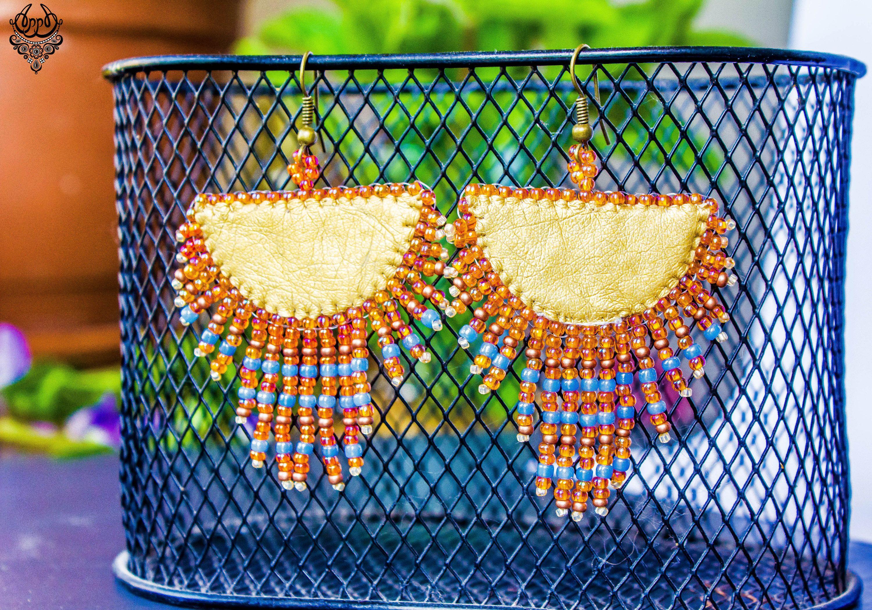 Ethnic orange earrings dangle mexican earrings long beaded