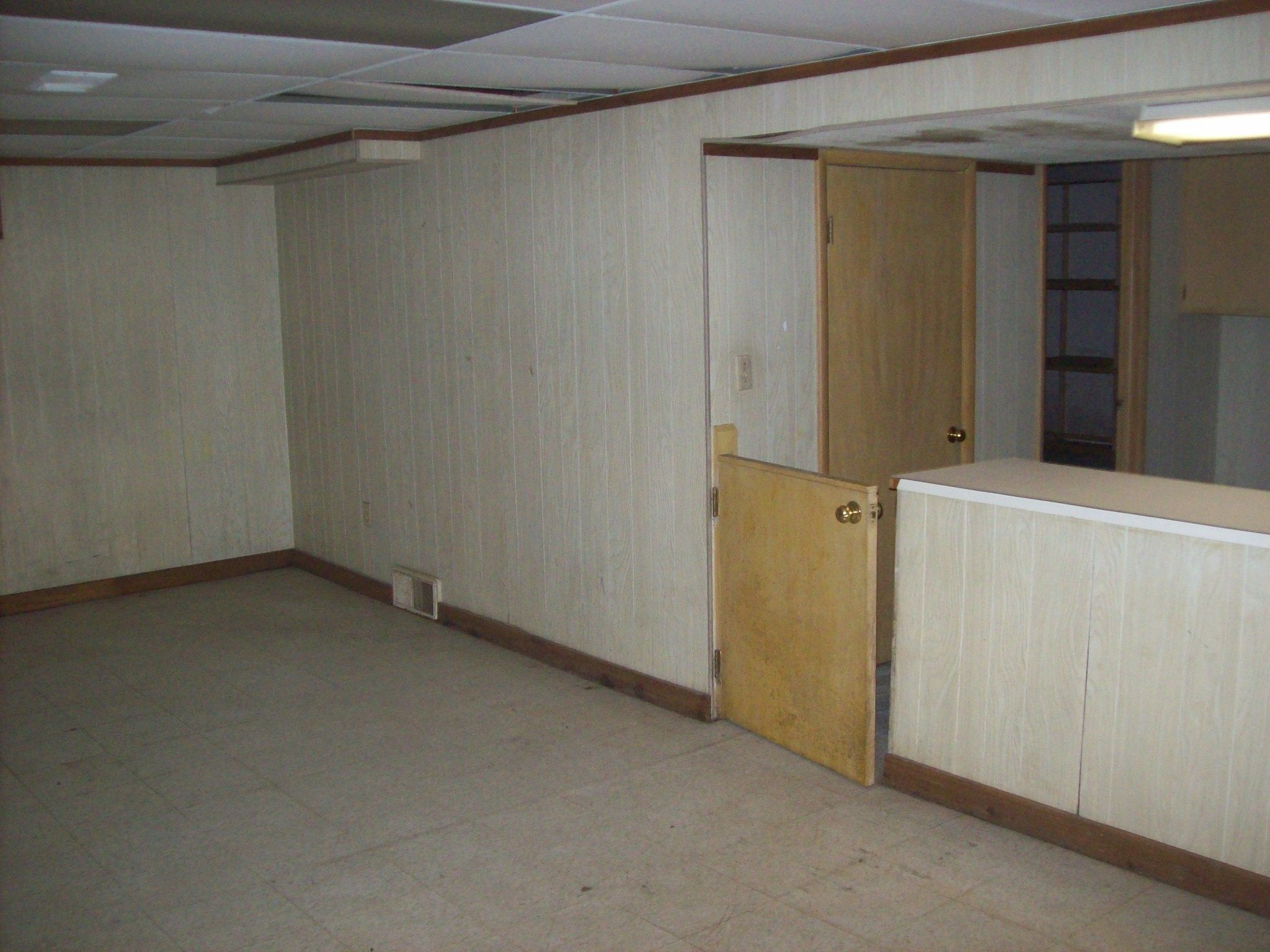 Basement Mmm Paneling Water Damaged Paneling At That Drop Ceiling Too Plan Save Whatever Paneling We Can Replace Wh Dropped Ceiling Paneling House
