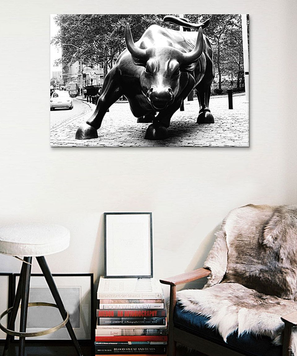 This Black White Wall Street Bull Canvas Print By Icanvas Is Perfect Zulilyfinds